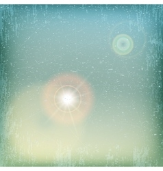 Vintage grunge sky background with sun flare - vector image