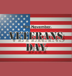 american flag and veterans day label vector image vector image