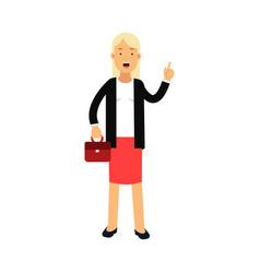 businesswoman cartoon character standing with vector image vector image