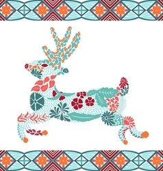 Christmas deer pattern made from flowers leaves vector image