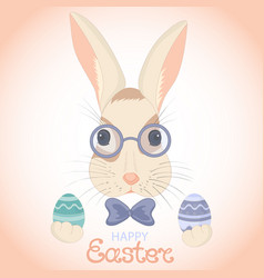 Easter bunny in glasses and bow with paschal eggs vector