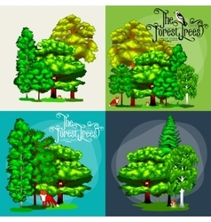 Forest green trees on the grass bush in summer vector image vector image