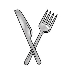 fork cutlery with knife vector image vector image