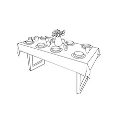 isolated table and tableware on the table vase of vector image vector image