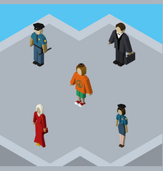 Isometric human set of officer lady policewoman vector