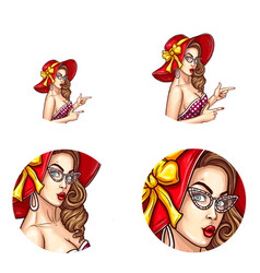 pop art avatar of pin up sexy girl icon vector image vector image