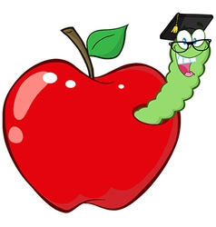 Worm In Red Apple With Graduate Cap vector image vector image