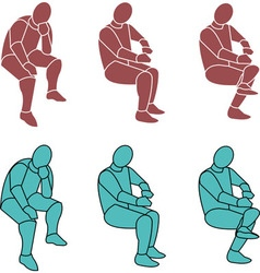 16 Silhouette Person Sitting b Small vector image
