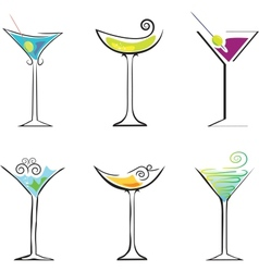 6 Cocktails against white background vector image