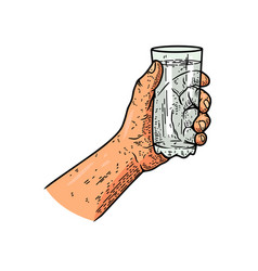 A hand with glass water design element vector