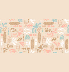 artistic seamless pattern with abstract leaves and vector image