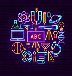 back to school neon concept vector image