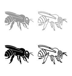 Bee icon set grey black color vector