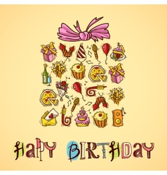 Birthday card with gift box vector image