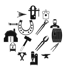 Blacksmith icons set simple style vector
