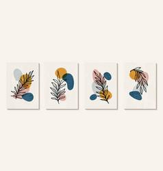 Botanical wall art set tropical foliage line art vector