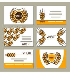 Business cards with wheat Design for agricultural vector image