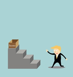 Businessman climbing the ladder of success vector image