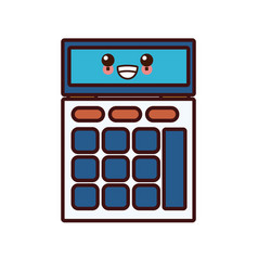 calculator math device kawaii cartoon vector image