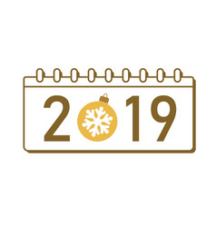 calendar happy new year 2019 number isolated on vector image