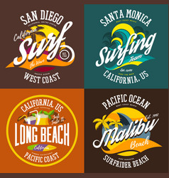 california or usa beach signs for t-shirts vector image