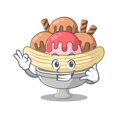 Call me funny banana split mascot picture style vector