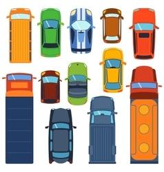 Car top view set vector