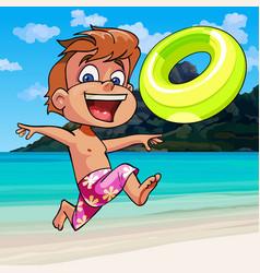 Cartoon boy happily runs along the seashore vector