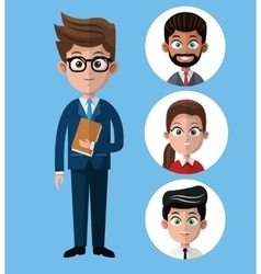 Cartoon business man holds folder group people vector