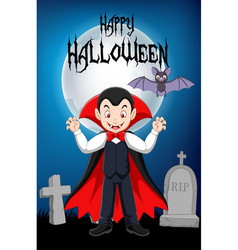 cartoon vampire standing with his bath mascot with vector image