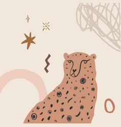 Cheetah art print abstract modern digital vector