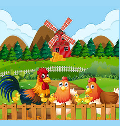 Chicken family at farmland vector