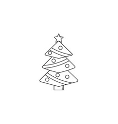 Christmas tree line icon decorations with star vector