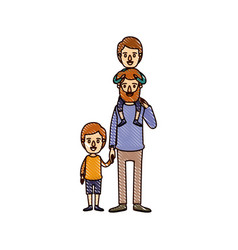Color crayon stripe cartoon bearded father with vector