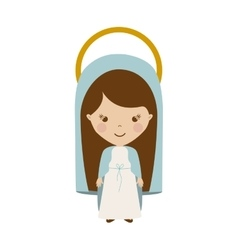 colorful figure human virgin maria cartoon vector image