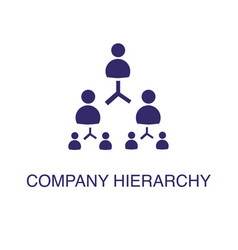 Company hierarchy element in flat simple style on vector