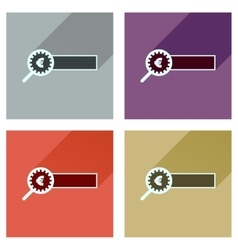 Concept flat icons with long shadow find money vector image