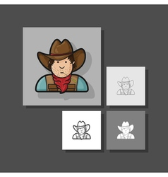 Contour flat character cowboy icon hat and cape vector image