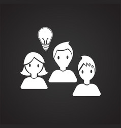 Coworking collaboration idea on black background vector