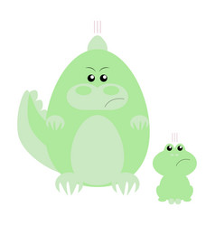 Crocodile and frog angry vector
