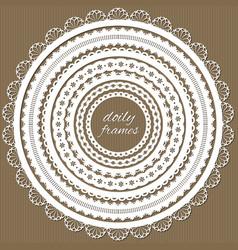 cute lacy doily frames big set vector image