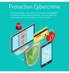 Cyber crime protection isometric concept vector
