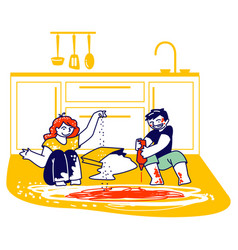 Dirty children characters making mess at home vector