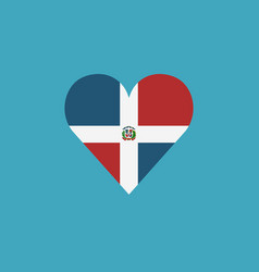 dominican republic flag icon in a heart shape in vector image