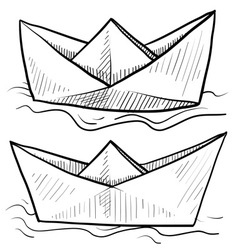 Doodle paper boats vector
