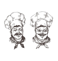 Drawn chef cooks on white background in style of vector