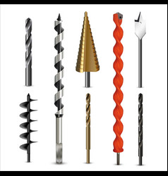 Drill bits and auger for various types materials vector