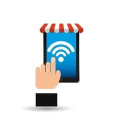 e-commerce concept hand holding smartphone wifi vector image