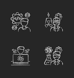 Engineer profession chalk white icons set on vector