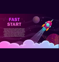 fast start poster rocket launch concept vector image
